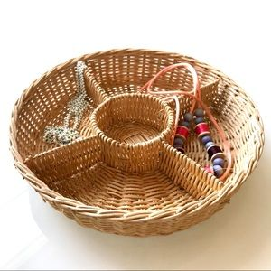 Small Round Wicker Divided Organizer Jewelry Tray